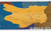 Political Shades Panoramic Map of Mondul Kiri, darken