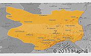 Political Shades Panoramic Map of Mondul Kiri, desaturated