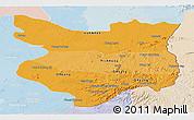 Political Shades Panoramic Map of Mondul Kiri, lighten