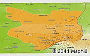 Political Shades Panoramic Map of Mondul Kiri, physical outside