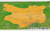 Political Shades Panoramic Map of Mondul Kiri, satellite outside