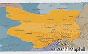 Political Shades Panoramic Map of Mondul Kiri, semi-desaturated