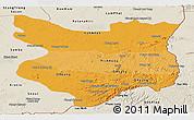 Political Shades Panoramic Map of Mondul Kiri, shaded relief outside
