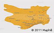 Political Shades Panoramic Map of Mondul Kiri, single color outside