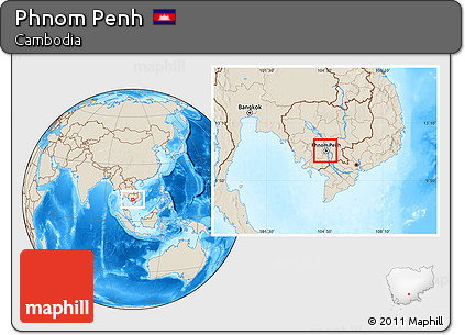 Shaded Relief Location Map of Phnom Penh