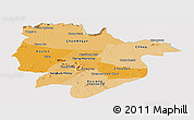 Political Shades Panoramic Map of Preah Vihear, single color outside