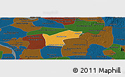 Political Panoramic Map of Kamchay Mear, darken