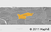 Political Panoramic Map of Kamchay Mear, desaturated