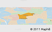 Political Panoramic Map of Kamchay Mear, lighten