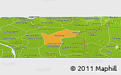 Political Panoramic Map of Kamchay Mear, physical outside
