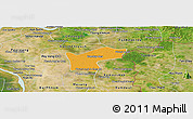Political Panoramic Map of Kamchay Mear, satellite outside