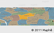 Political Panoramic Map of Kamchay Mear, semi-desaturated
