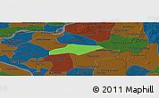 Political Panoramic Map of Kanch Chreach, darken