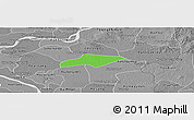 Political Panoramic Map of Kanch Chreach, desaturated