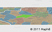 Political Panoramic Map of Kanch Chreach, semi-desaturated
