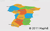 Political Panoramic Map of Prey Veng, cropped outside