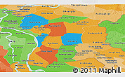 Political Panoramic Map of Prey Veng, political shades outside