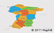 Political Panoramic Map of Prey Veng, single color outside