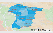 Political Shades Panoramic Map of Prey Veng, lighten