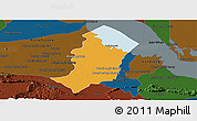 Political Panoramic Map of Bakan, darken