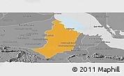 Political Panoramic Map of Bakan, desaturated