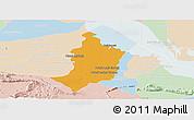 Political Panoramic Map of Bakan, lighten