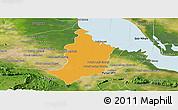 Political Panoramic Map of Bakan, satellite outside