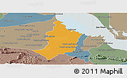 Political Panoramic Map of Bakan, semi-desaturated