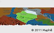 Political Panoramic Map of Krakor, darken