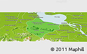 Political Panoramic Map of Krakor, physical outside