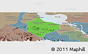 Political Panoramic Map of Krakor, semi-desaturated