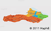 Political Panoramic Map of Pursat, cropped outside