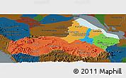 Political Panoramic Map of Pursat, darken