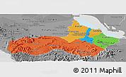 Political Panoramic Map of Pursat, desaturated