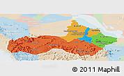 Political Panoramic Map of Pursat, lighten