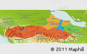 Political Panoramic Map of Pursat, physical outside