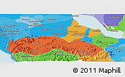 Political Panoramic Map of Pursat, political shades outside