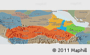 Political Panoramic Map of Pursat, semi-desaturated