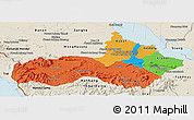 Political Panoramic Map of Pursat, shaded relief outside