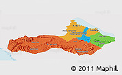 Political Panoramic Map of Pursat, single color outside