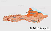 Political Shades Panoramic Map of Pursat, cropped outside