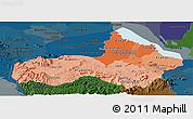 Political Shades Panoramic Map of Pursat, darken