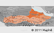Political Shades Panoramic Map of Pursat, desaturated