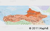 Political Shades Panoramic Map of Pursat, lighten