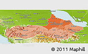 Political Shades Panoramic Map of Pursat, physical outside