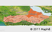 Political Shades Panoramic Map of Pursat, satellite outside