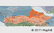 Political Shades Panoramic Map of Pursat, semi-desaturated