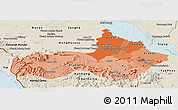 Political Shades Panoramic Map of Pursat, shaded relief outside