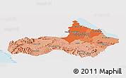 Political Shades Panoramic Map of Pursat, single color outside