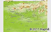 Physical Panoramic Map of Ratana Kiri